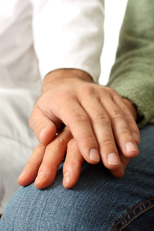touching hands: Doctor and senior patient hand