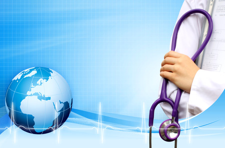 Doctor with medical background blue