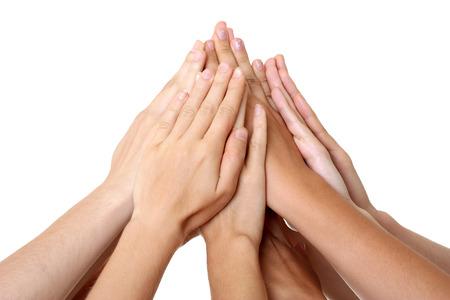 manos juntas: Manos en equipo Foto de archivo