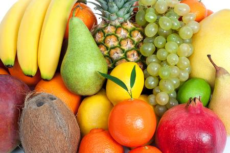 mixed fruits: Fresh mixed fruits background Stock Photo