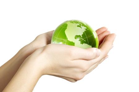 wereldbol: Hand houden van de aarde geïsoleerd America