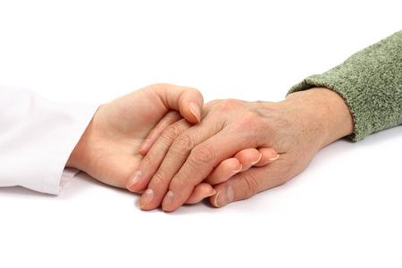 adult 80s: Holding senior hand