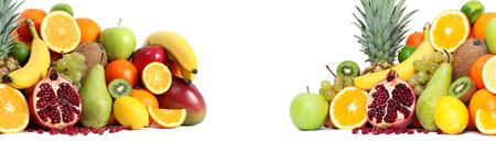 mixed fruits: Fresh mixed fruits backgound both side