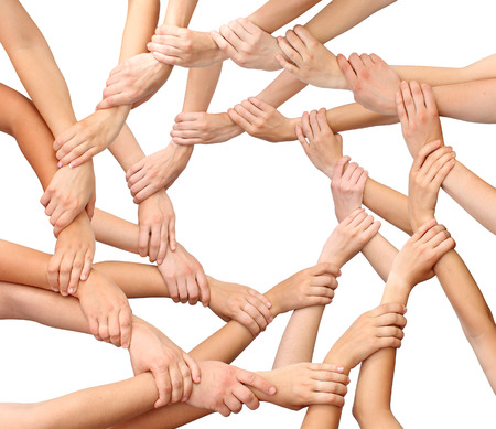 people together: Ring of many hands isolated