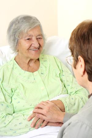 elderly care: Patient hospital bed