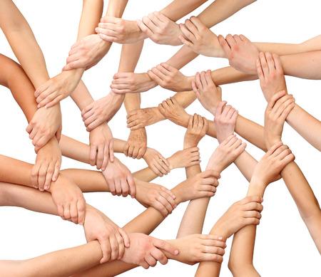 comunidad: Anillo de muchos equipo de manos Foto de archivo