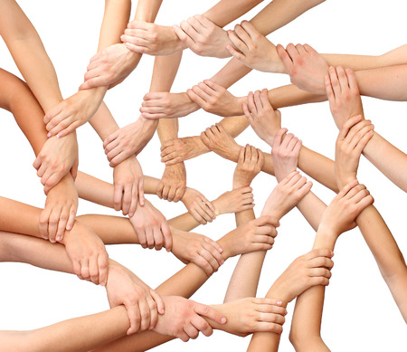 join hands: Ring of many hands team Stock Photo