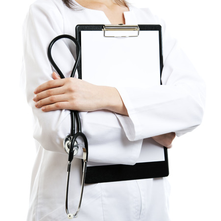 home safety: Woman doctor isolated with empty blank clipboard Stock Photo