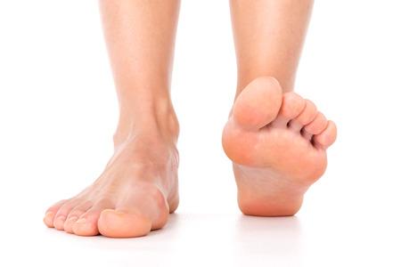 Geïsoleerd voeten vrouw Stockfoto