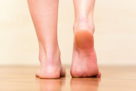 feet naked: Woman feet walking