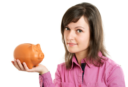 coinbank: Woman with a piggy bank isolated Stock Photo