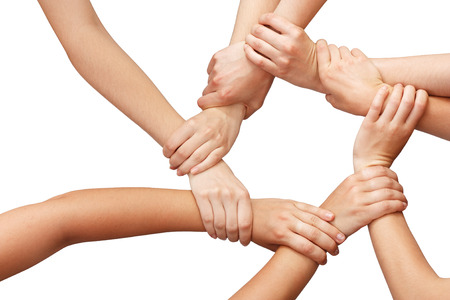 strong partnership: Ring of many hands teamwork Stock Photo