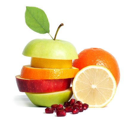 Fresh mixed fruit diet isolated
