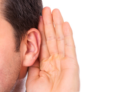listening ear: Ear listening secret isolated Stock Photo
