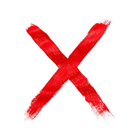 塗装の X マークが白で隔離