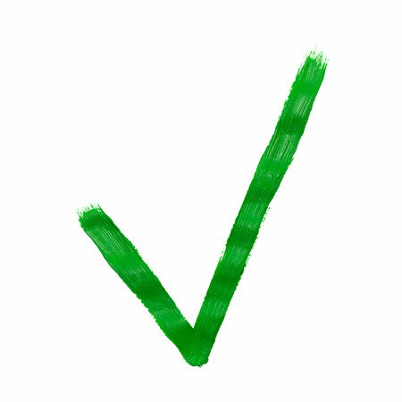 elected: Green check mark painted, isolated on white Stock Photo