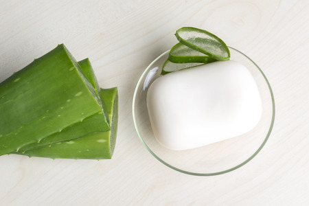 constituent: Fresh aloe vera leaves with soap Stock Photo