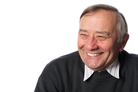 isolation: Portrait of a happy senior man in isolation Stock Photo