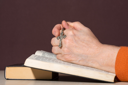 intercede: Hands of an unrecognizable woman with Bible praying