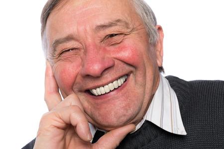 year old: Portrait of an elegant senior man isolated on white background