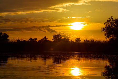 delta: Beautiful sunset in the Danube Delta