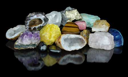 amazonite: Set of different minerals with reflection isolated on black background