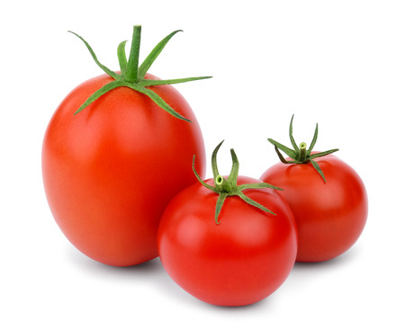 Three ripe red tomatoes of different sizes and shapes, isolated on white background. photo