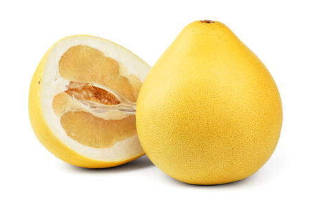 pummelo: Ripe pear-shaped pomelo fruit and a half of pomelo isolated on white background.