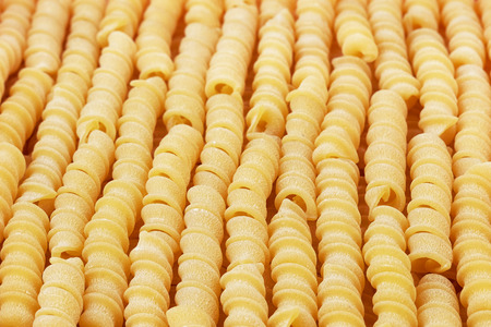 sorted: Italian uncooked wheat spiral pasta closeup sorted vertically.