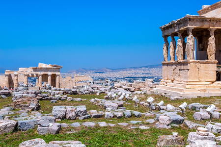 Ancient Acropolis, Erechtheion, view of the north side of the Parthenon with caryatids and Athens, Greece.