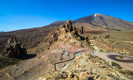 The landscape of Teide volcano and Roques de Garcia in Las Canadas National park on Tenerife. Spain. Canary Islands.