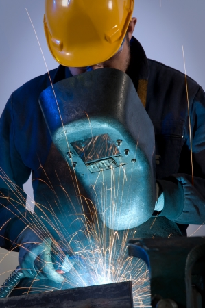 Worker welding steel - a series of METAL INDUSTRY images   Stock Photo
