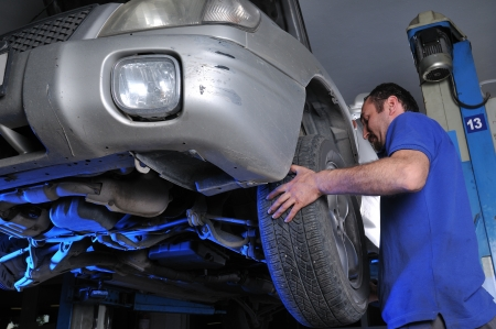 Car mechanic removing wheel nuts to check brakes  photo