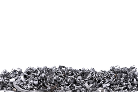 swarf: Steel shavings from CNC with space for your text  Stock Photo
