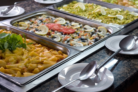 serving tray: Buffet style food in trays - a series of RESTAURANT images