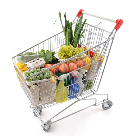 grocery cart: Shopping cart full of groceries from above