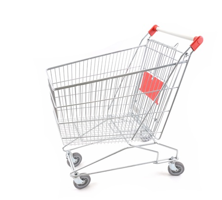 Empty shopping cart viewed from side - a series of SHOPPING TROLLEY images