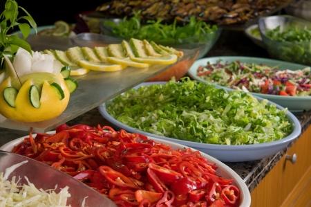 Buffet style salad in restaurant Stock Photo