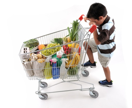 Cute boy with shopping trolley isolated on white