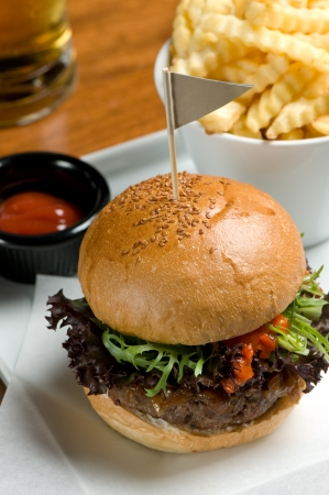 Tasty hamburger with fries