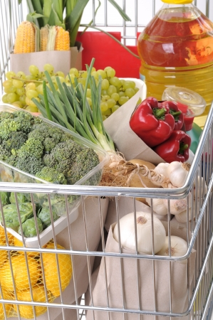 Close up of shopping trolley full of grocery