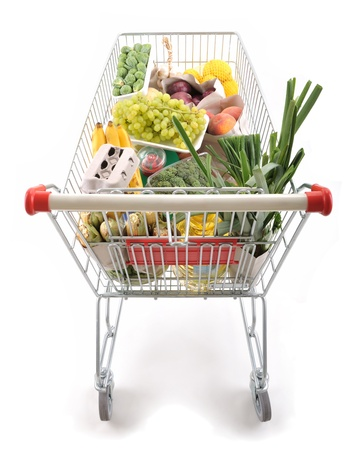 Shopping cart full of groceries from above