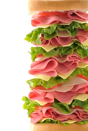 Deli: Cropped big sandwich with space for your text Stock Photo