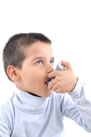 asthmatic: Close up image of a cute boy with respiratory problem or asthma Stock Photo