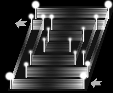 light columns: Black and white 3D maze. Located at the corners of columns with light. Stock Photo