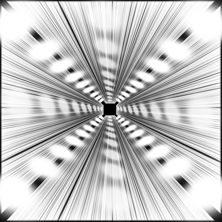 blurring: A square tunnel. Black and white colors. Some blurring indicates the velocity of the tunnel. Use of perspective space. Stock Photo