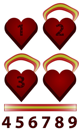 character traits: Original Heart-medals. Can be used for the distribution of seats in the womens press (when awarding the authors of the articles) or female sites. Stock Photo