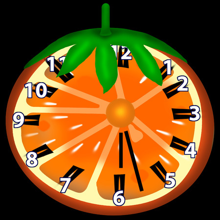 repast: These clock are made of an orange. On it there is CW and number of hours. Stock Photo
