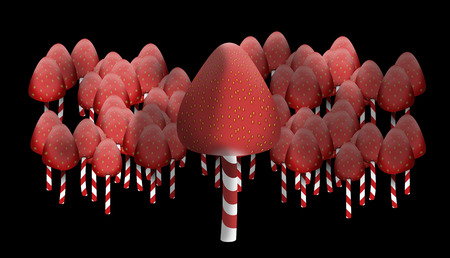 repast: This is strawberries, which strung on sticks lollipops. They look like toadstools. They are like the edge of the forest. Stock Photo