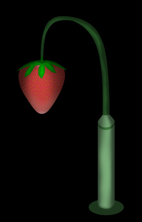 Strawberries hanging from a lamppost instead of bulbs. Фото со стока